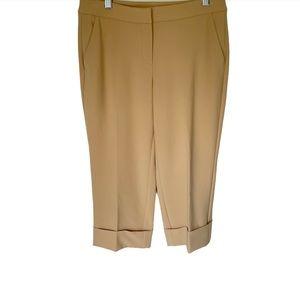 St. John Tan Cuffed Capris Dress Pants
